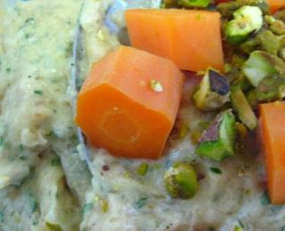 turkey terrine with champignons and pistachios